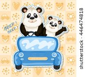 daddy and baby panda in a blue... | Shutterstock .eps vector #446474818
