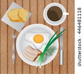 fried eggs with bacon and herbs ... | Shutterstock .eps vector #446481118