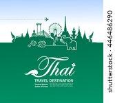 thailand travel illustration... | Shutterstock .eps vector #446486290