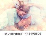 romantic flirting lovers at home | Shutterstock . vector #446490508
