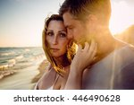 passionate boyfriend and... | Shutterstock . vector #446490628