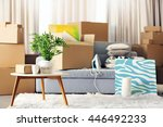 Packed household goods for moving into new house - stock photo
