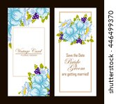 invitation with floral... | Shutterstock . vector #446499370