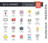 seo and internet in flat icons  ... | Shutterstock .eps vector #446501596