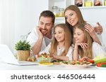 happy family at kitchen | Shutterstock . vector #446506444