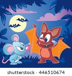 cute little bat explains to... | Shutterstock .eps vector #446510674