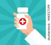 medicine bottle with red cross... | Shutterstock .eps vector #446517199
