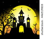 halloween night with silhouette ... | Shutterstock .eps vector #446519833