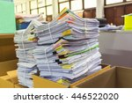 paper documents stacked in... | Shutterstock . vector #446522020