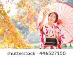 portrait of asian woman wearing ... | Shutterstock . vector #446527150