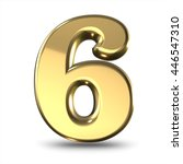 3d cute gold metal number 6 six ... | Shutterstock . vector #446547310