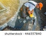 brick paving works.... | Shutterstock . vector #446557840