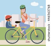woman and toddler on a bike | Shutterstock .eps vector #446563768