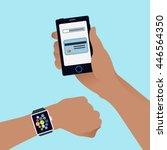 smart watch and smart phone...   Shutterstock .eps vector #446564350