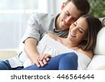 affectionate couple holding... | Shutterstock . vector #446564644
