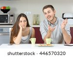 bored wife hearing her husband... | Shutterstock . vector #446570320