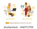 business characters in circle.... | Shutterstock .eps vector #446571703