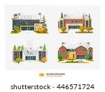 four school building in flat... | Shutterstock .eps vector #446571724