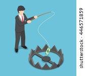 isometric businessman stole... | Shutterstock .eps vector #446571859