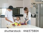 portrait of happy family...   Shutterstock . vector #446575804