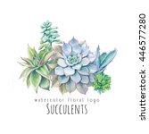 watercolor succulents logo... | Shutterstock . vector #446577280