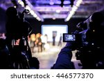 televison camera broadcasting a ... | Shutterstock . vector #446577370