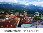panoramic view of old town's... | Shutterstock . vector #446578744