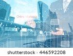 businessman hand touching... | Shutterstock . vector #446592208