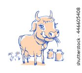 isolated funny sketch cow for... | Shutterstock .eps vector #446605408