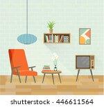 retro interior living room.... | Shutterstock .eps vector #446611564