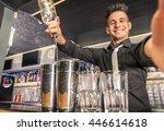 happy bartender taking a selfie....   Shutterstock . vector #446614618