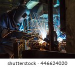 worker with protective mask... | Shutterstock . vector #446624020