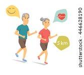seniors running and smiling.... | Shutterstock .eps vector #446628190