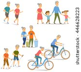 seniors leisure and activity... | Shutterstock .eps vector #446628223
