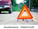 red emergency stop sign and...   Shutterstock . vector #446631160