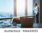 handsome mature businessman... | Shutterstock . vector #446633053