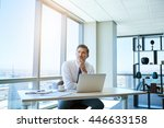 mature businessman sitting at... | Shutterstock . vector #446633158