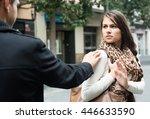 family couple having argue on... | Shutterstock . vector #446633590
