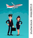 pilot and a flight attendant on ... | Shutterstock .eps vector #446638513