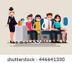 flight attendant serving drinks ... | Shutterstock .eps vector #446641330