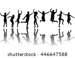 silhouettes of women and men... | Shutterstock .eps vector #446647588