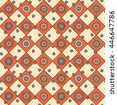 seamless hand drawn mandala... | Shutterstock .eps vector #446647786