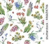 bright hand drawn spring... | Shutterstock . vector #446654746