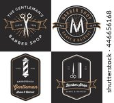set of men's barber shop logo ... | Shutterstock .eps vector #446656168