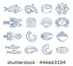 vector seafood and sushi blue... | Shutterstock .eps vector #446663104