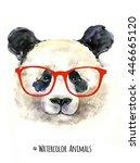 portrait of panda hand painted... | Shutterstock . vector #446665120