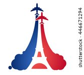 logo as a tourist flying... | Shutterstock .eps vector #446671294