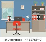 workplace of office worker.... | Shutterstock .eps vector #446676940