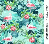tropical summer seamless... | Shutterstock .eps vector #446677954