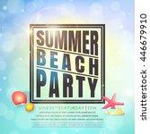 summer beach party flyer.... | Shutterstock .eps vector #446679910